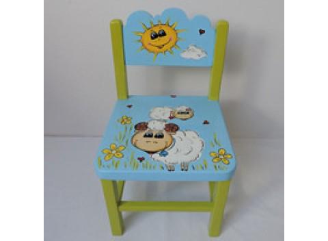 Židlička dřevěná-ovečky
