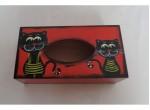 Krabička na kapesníky-kočka-červená